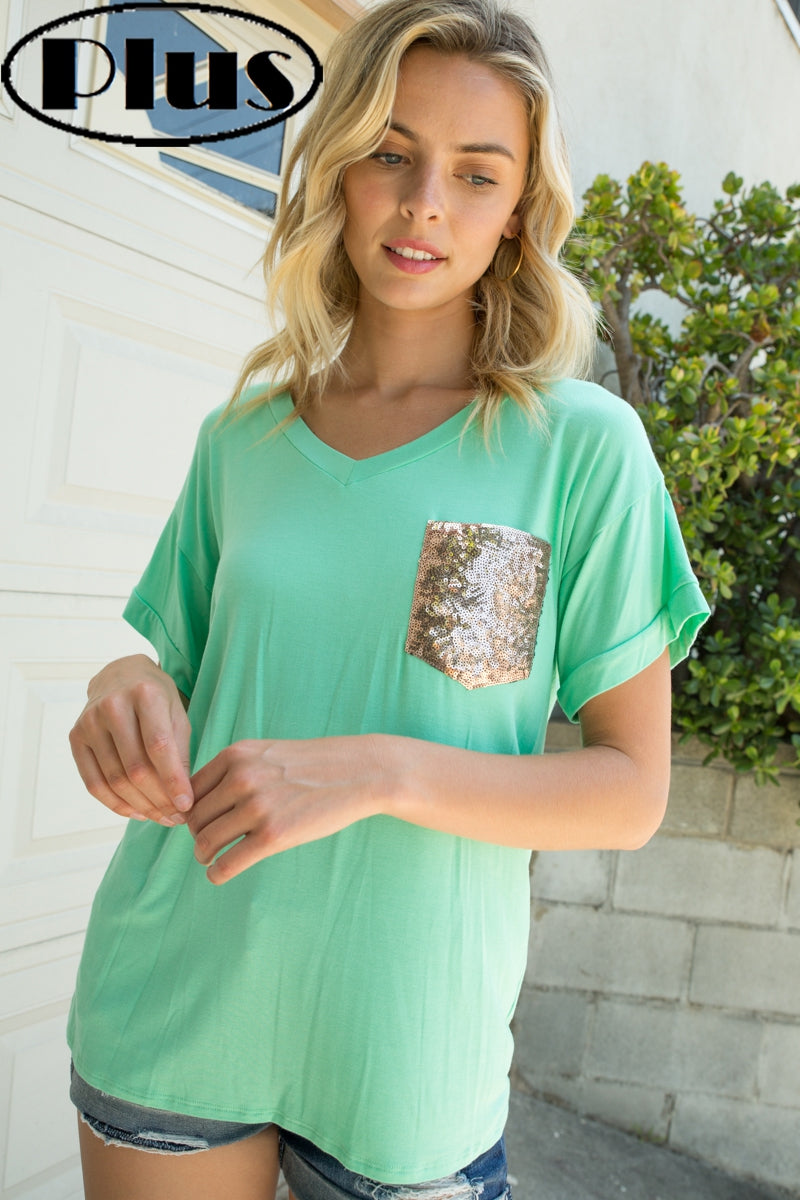 Plus Short Sleeve Sequin Tee