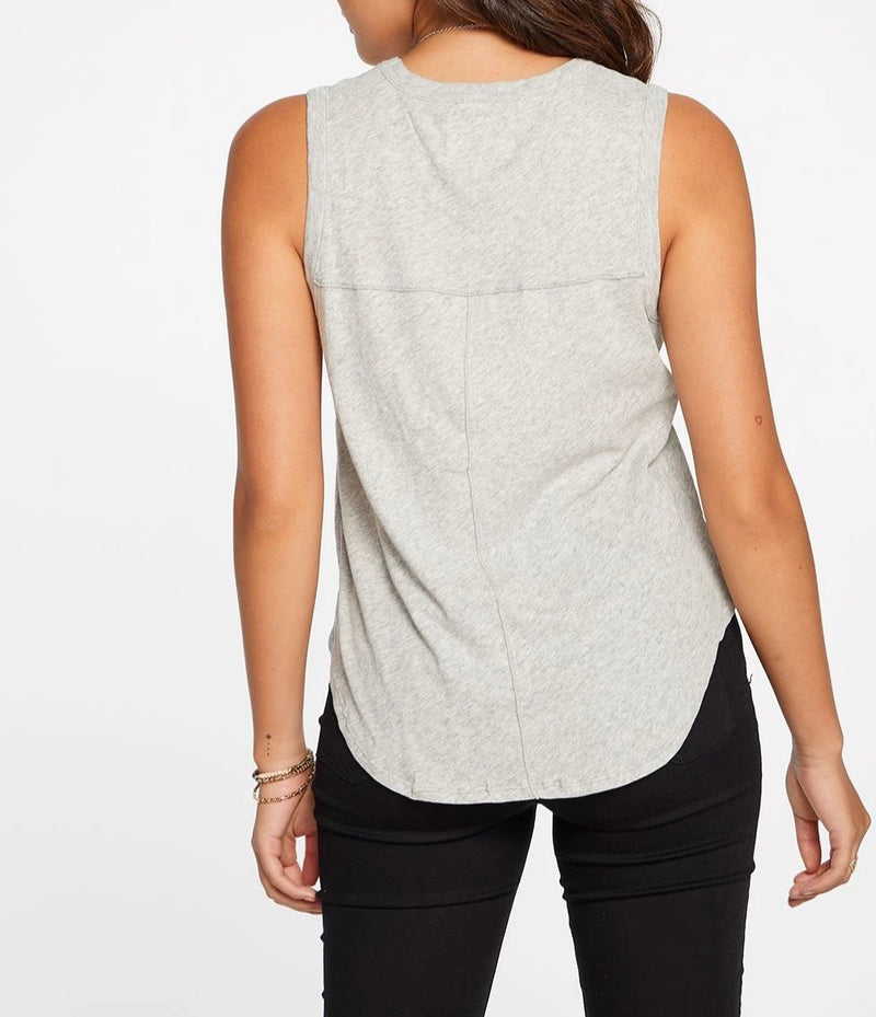 Chaser Gauzy Cotton Seamed Muscle Tank