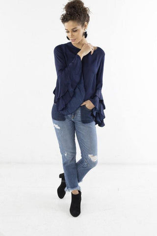 Blouse with Sleeve Detail and Ruffles