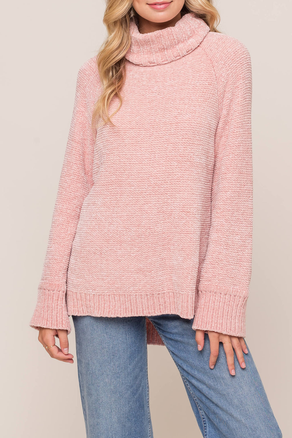 LUSH Soft Chenille Turtleneck Sweater