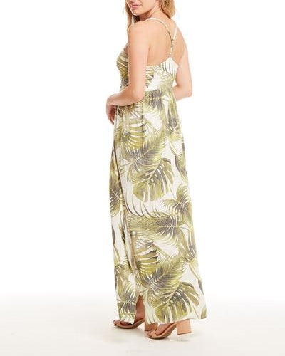 Cool Jersey T Back Ruched Maxi Dress-Palm Print