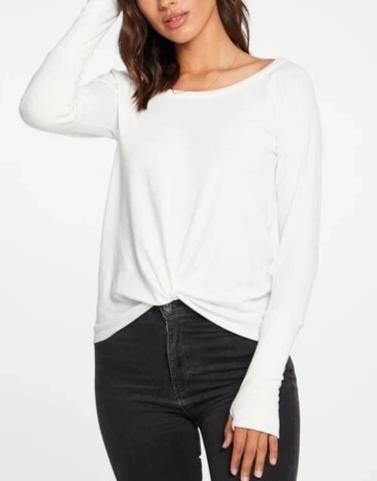 Chaser Linen Rib Knot Front L/S Thumbhole Tee