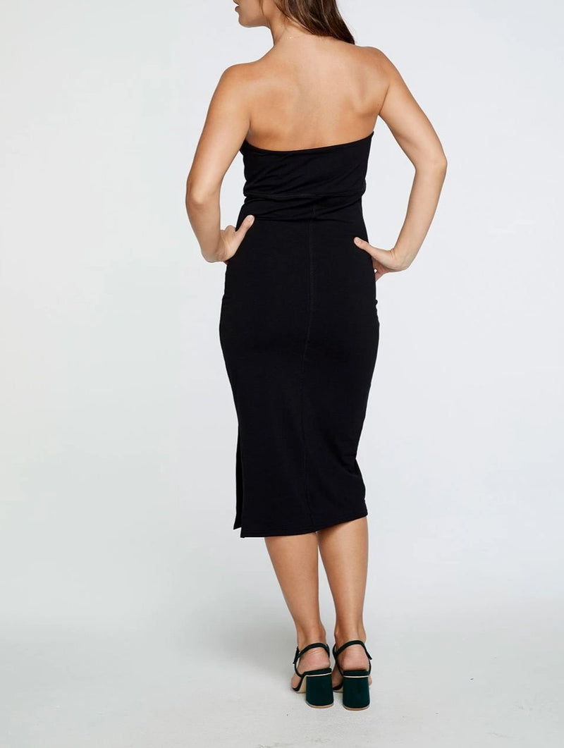 Chaser Quadrablend Strapless Slit Bodycon Midi Dress