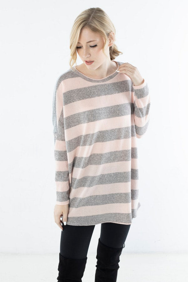 STRIPED KNIT TOP WITH SOLID BACK