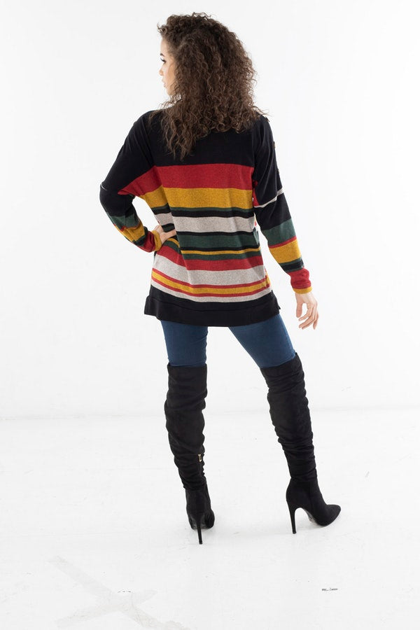 STRIPED SWEATER WITH BUTTON TRIM