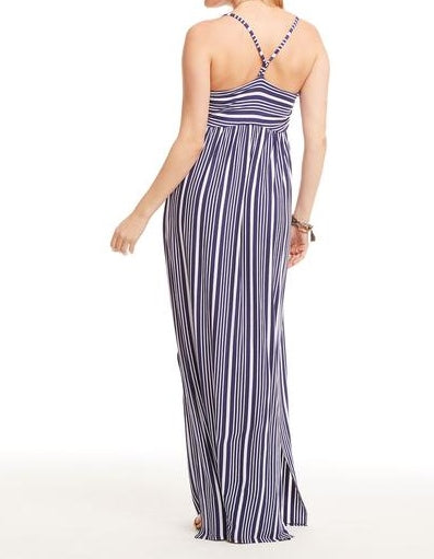 Cool Jersey T Back Ruched Maxi Dress-Striped