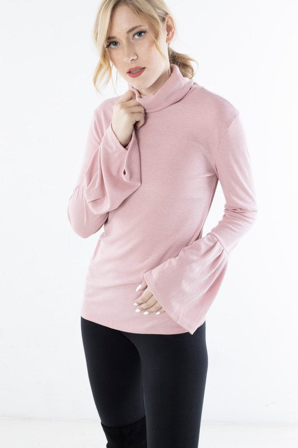 TURTLENECK KNIT TOP WITH BELL SLEEVES