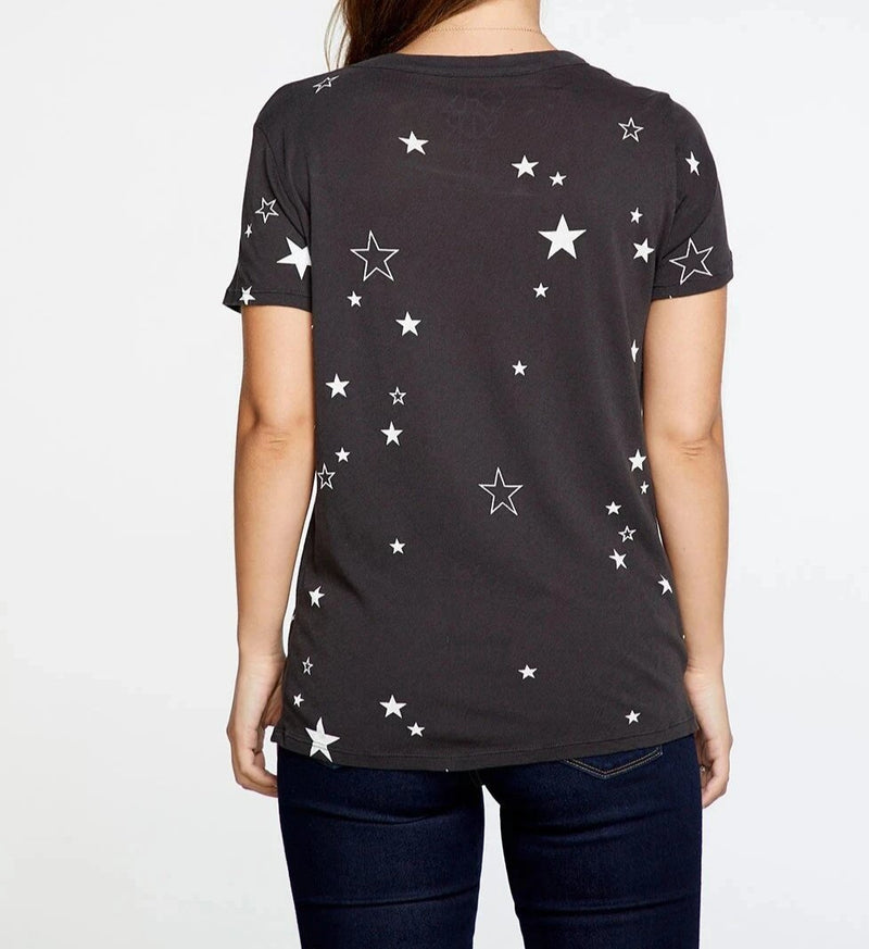 Chaser Gauzy Cotton Jersey Crew Neck with White Star Print