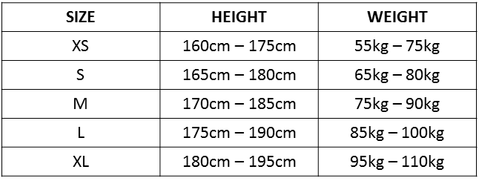 CYCLING BIB SIZE CHART