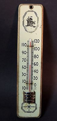 1930s Antique Tin & Wood PLYMOUTH Car Auto Ship Logo Advertising THERMOMETER