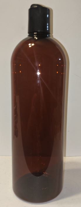 32 Oz Cosmo Round Amber Bottle with Disc Cap - qty 10