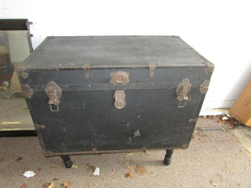 Antique Trunk with legs,  shelf/drawer