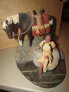 Indian Girl with Horse - Daniel Monfort Sculptures