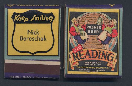 Beautiful Old Reading Pilsner Beer Full Pack of Front Cover Striker Matches