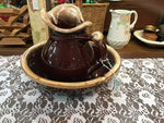 McCOY USA  BROWN-DRIP  pitcher/washbowl