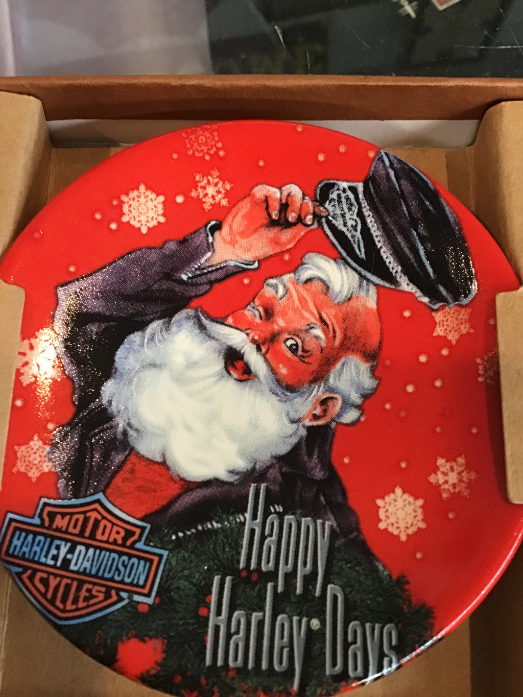 "Harley Davidson Plate Ornament ""Happy Harley Days"""