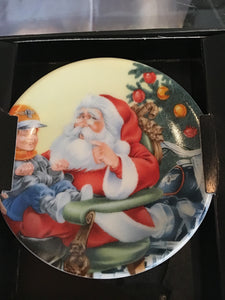 "Harley Davidson Plate Ornament ""Wishing with Santa"""