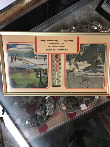1955 Browns Tin Shop calendar \thermometer