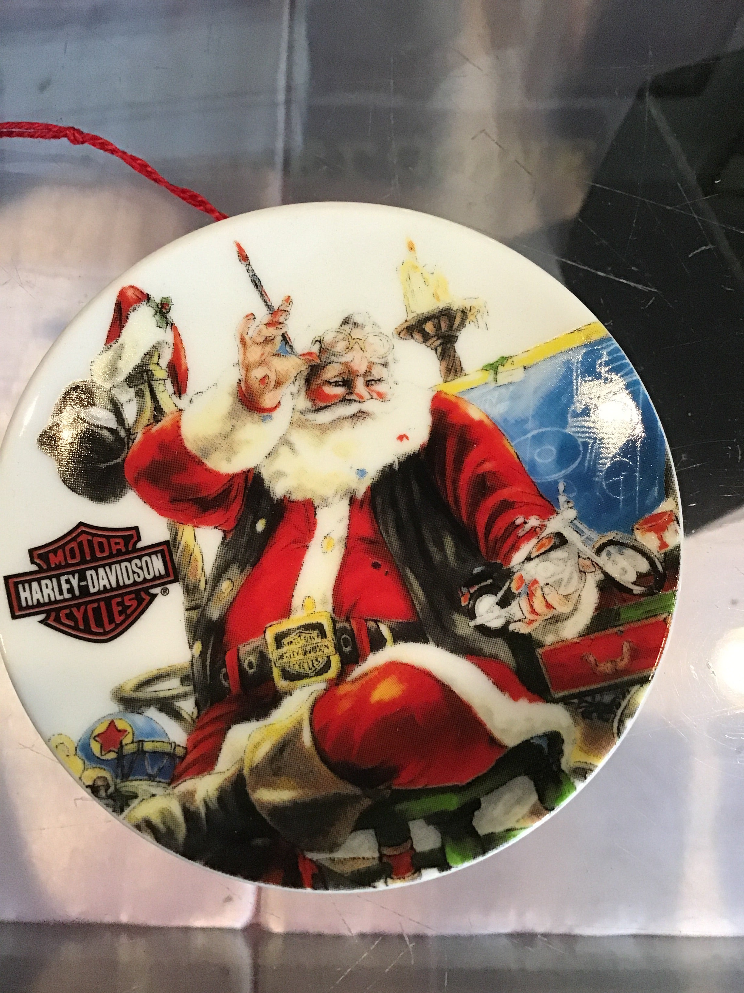 "Harley Davidson Plate Ornament ""Happy Holidays"""