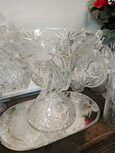 Vintage Crystal Pedestal Punch Bowl Set