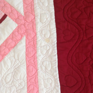 "Vintage Hand Stitched Quilt-Pink Fans with burgundy trim 84"" x 122"""