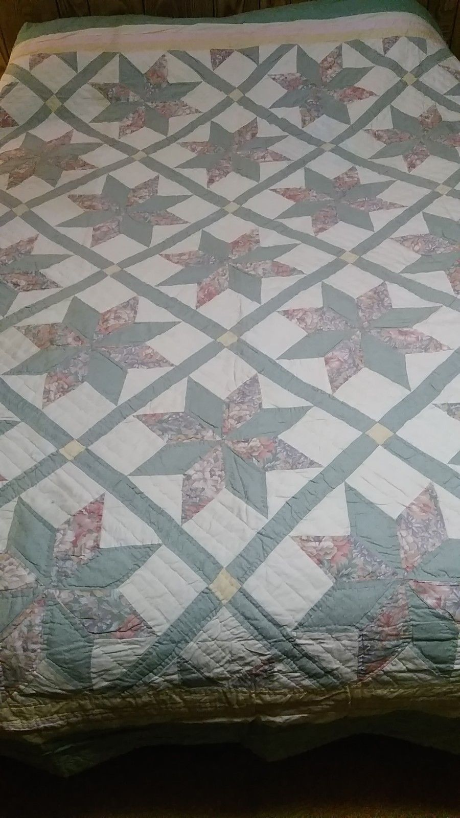 Vintage Star Quilt 93 x 82 Hand Sewn Antique