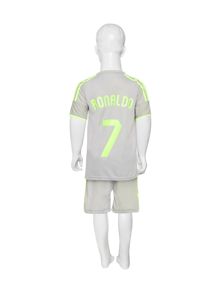 Sportigoo Unisex Real Madrid Ronaldo KIDS Football Jersey-Grey/Green