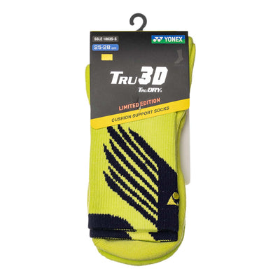 Yonex Tru3D Cushion Support White/Lime Green Socks (Pack of 2 Pairs)