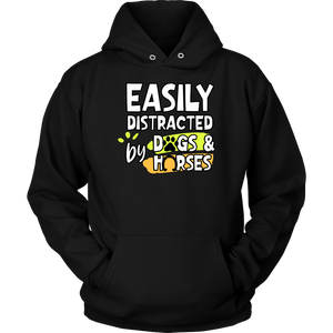 """Easily Distracted By Dogs And Horses"" Unisex Hoodie"