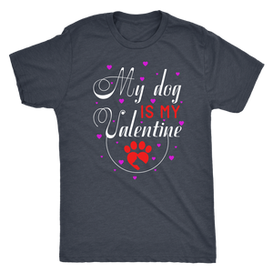 """My Dog Is My Valentine"" Men's Triblend T-Shirt"