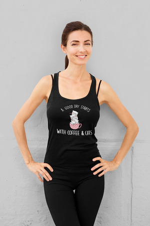 """A Good Day Starts"" Women's Racerback Tank Top"