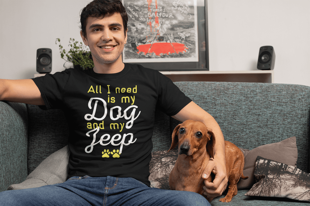 """All I Need Is My Dog And My Jeep"" Men's Triblend T-Shirt"