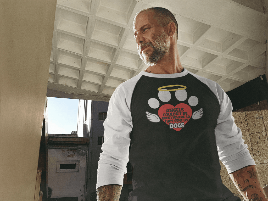 """Angels Couldn't Be Everywhere, So They Sent Us Dogs"" Unisex Raglan Shirt"