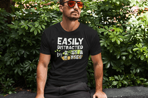"""Easily Distracted By Dogs And Horses"" Men's Triblend T-Shirt"