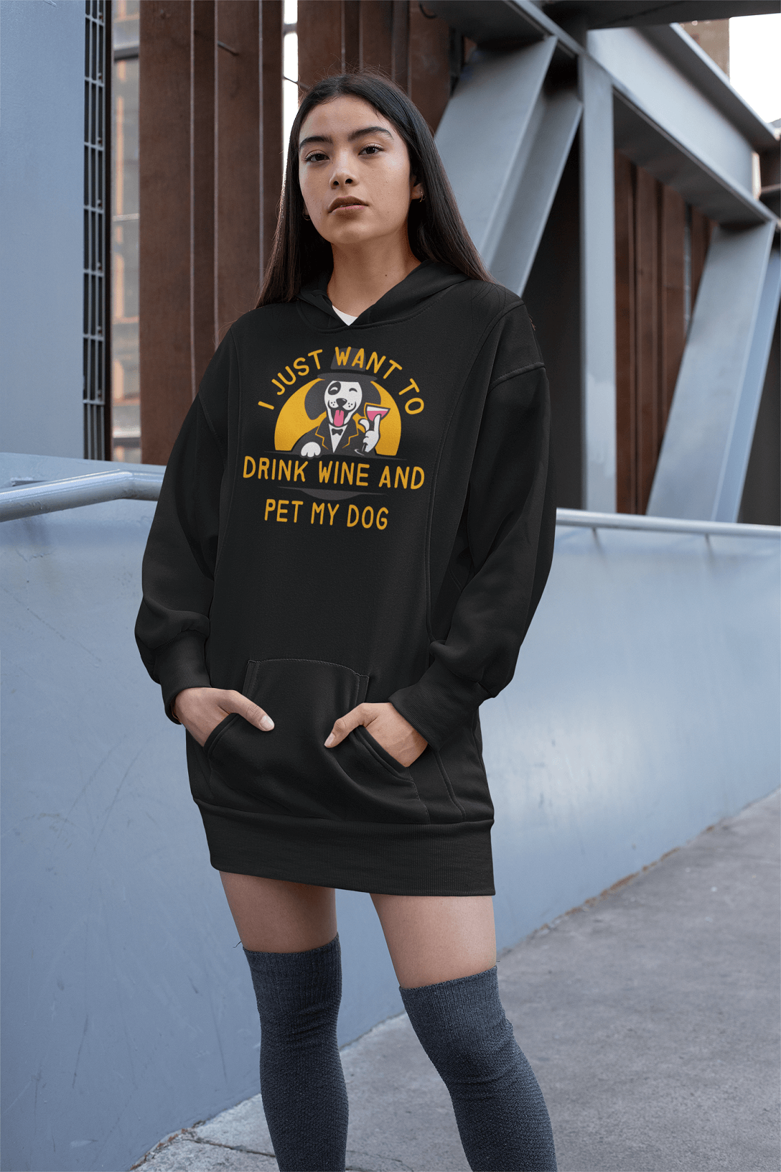 """I Just Want To Drink Wine And Pet My Dog"" Unisex Hoodie"