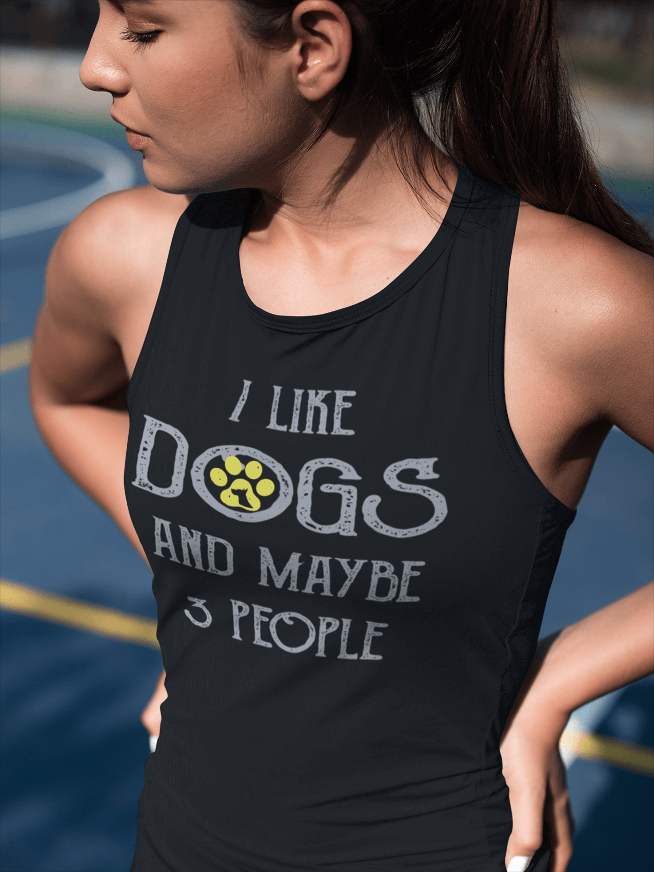 """I Like Dogs And Maybe 3 People""  Women's Racerback Tank Top"