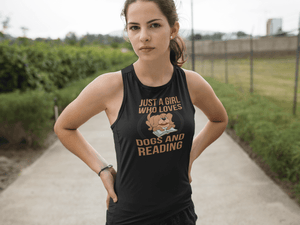 """Just A Girl Who Loves Dogs And Reading""  Women's Racerback Tank Top"