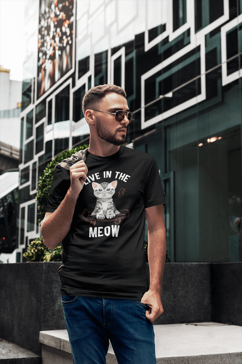 """Live In The Meow"" Men's Triblend T-Shirt"