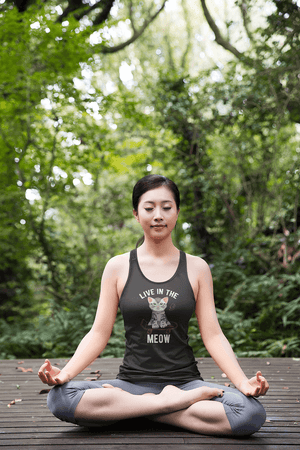"""Live In The Meow"" Women's Racerback Tank Top"