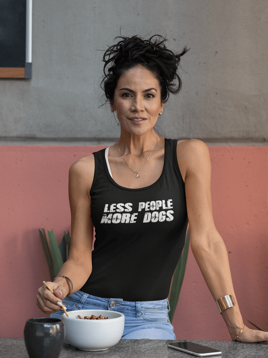 """Less People More Dogs"" Women's Racerback Tank Top"