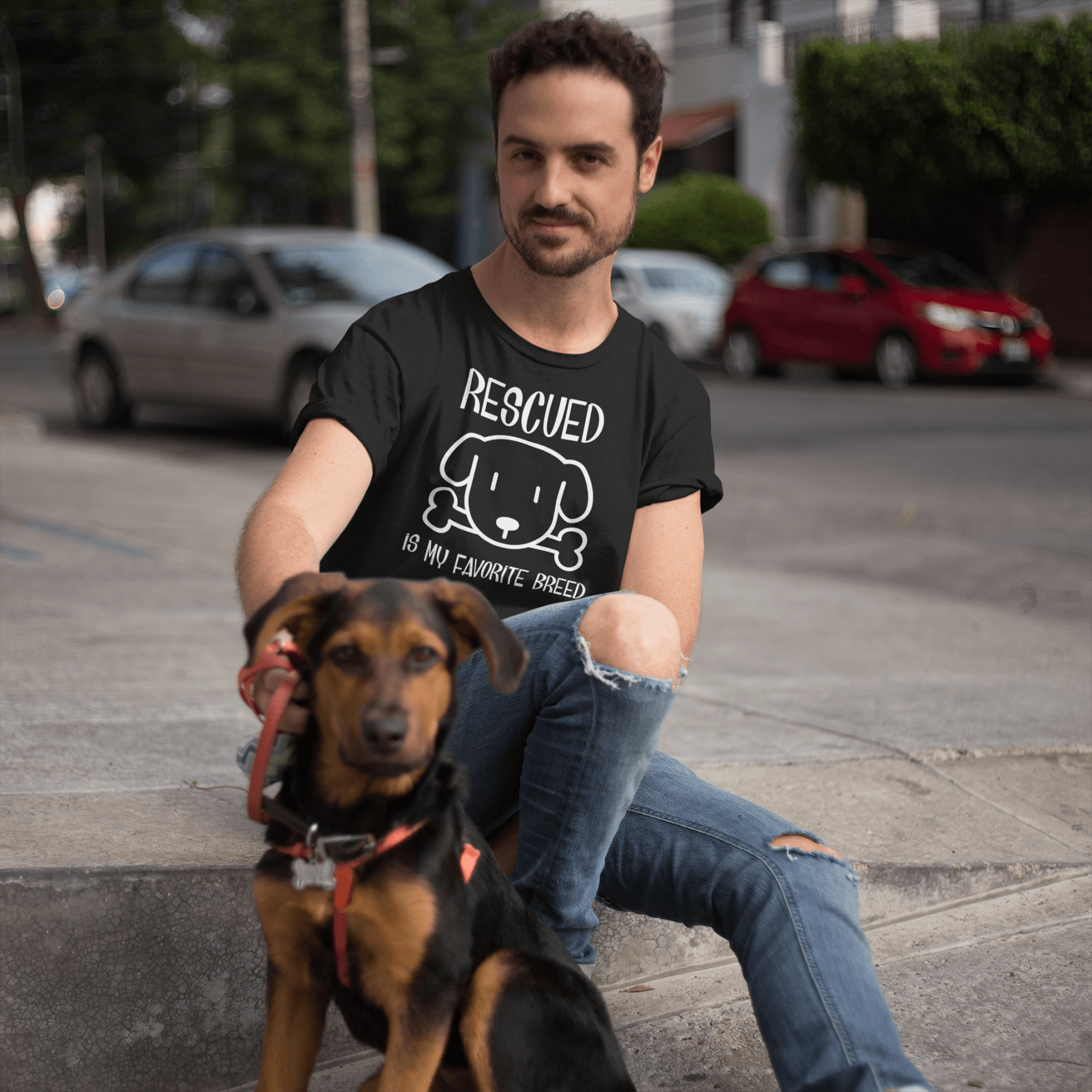 """Rescued Is My Favorite Breed"" Men's Triblend T-Shirt"