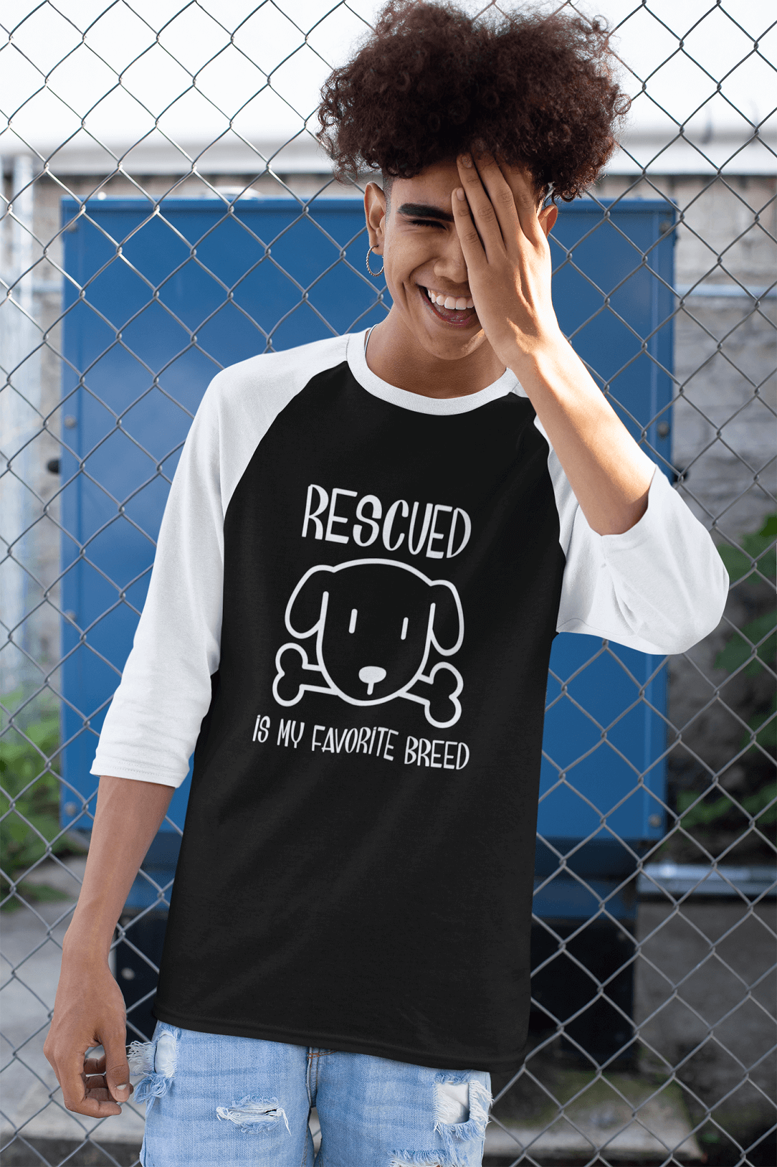 """Rescued Is My Favorite Breed"" Unisex Raglan Shirt"