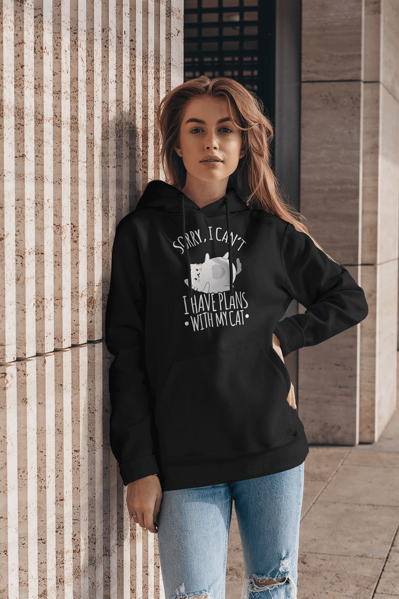 """Sorry I Have Plans With My Cat"" Unisex Hoodie"