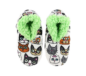 Cattitude Cat Lovers Fuzzy Feet Slippers