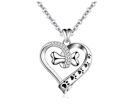 "Sterling Silver Dog Bone Heart 18"" Necklace"