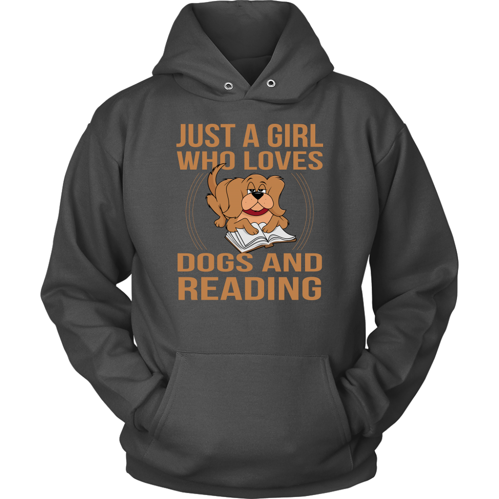 """Just A Girl Who Loves Dogs And Reading"" Unisex Hoodie"