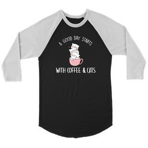 """A Good Day Starts"" Unisex Raglan Shirt"