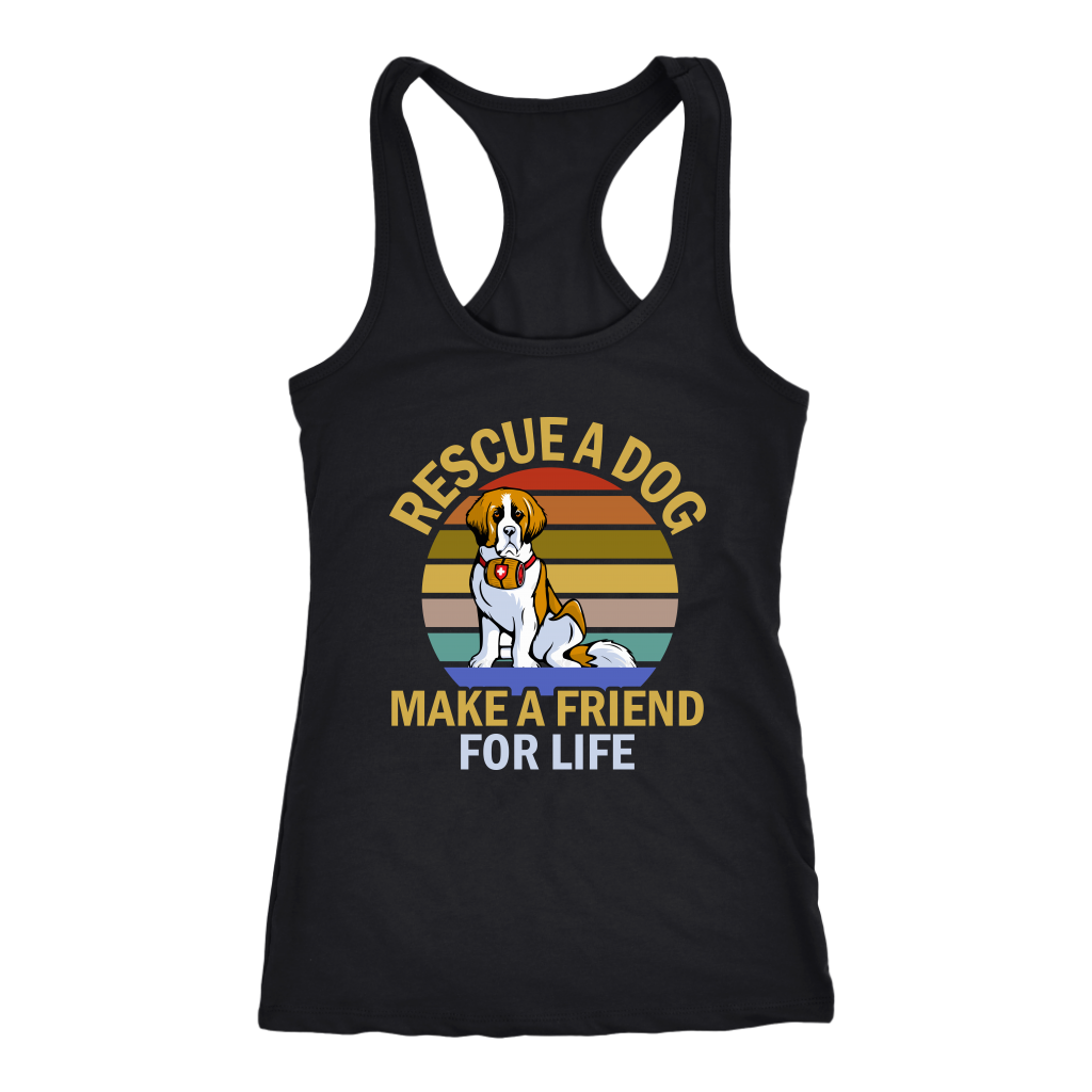 """Rescue A Dog Make A Friend For Life"" Women's Racerback Tank Top"