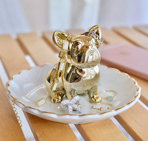 Ceramic French Bulldog Ring Dish