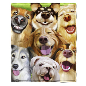 Dogs Selfie Soft Plush Throw Blanket, 50x60""
